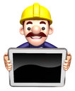 Staff holding the monitor. 3D Works Character Royalty Free Stock Photos