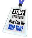 Staff - How Can We Help You - Lanyard and Badge Royalty Free Stock Photos