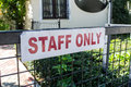 Staff only a sign stating that may enter an area Royalty Free Stock Photography