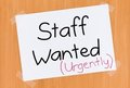 Staff Wanted Urgently Sign on Door Royalty Free Stock Photo