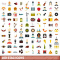 100 stag icons set, flat style