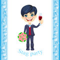 Stag party invitation with elegant bridegroom holding a glass of wine in one hand and a bouquet of roses in the other hand Royalty Free Stock Photos