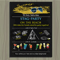 stag-party invite on the beach. Holiday, vacation, invitation c