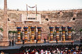Stage with aida scenery in the arena di verona italy august people are waiting for start of opera of august Royalty Free Stock Photos