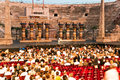 Stage with aida scenery in the arena di verona italy august people are watching opening of opera of august Stock Photography