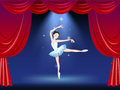 A stage with a beautiful ballerina dancer illustration of Stock Photography
