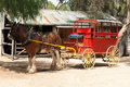 Stage coach and clydesdale draught horse a Royalty Free Stock Photo