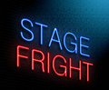 Stage fright concept illustration depicting an illuminated neon sign with a Stock Photo