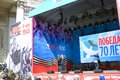 Stage and holiday banners on Theater Square in Moscow. Royalty Free Stock Photo