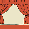Stage illustration of hand drawn with curtain Stock Photos