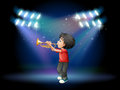 A stage with a musical performer illustration of Royalty Free Stock Images