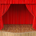 Stage with open red curtain Stock Photos