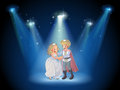 A stage with a prince and a princess illustration of Stock Images