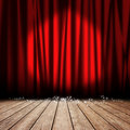 Stage red curtain Stock Photos