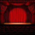 Stage with red curtain Stock Images