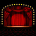 Stage with red curtain Royalty Free Stock Photo