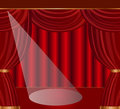 Stage with red curtains illustration Royalty Free Stock Photo