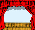 Stage wooden with red curtain Stock Photography