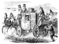 Stagecoach an engraved illustration image of an old fashioned georgian horsedrawn full of travelling passengers from a victorian Royalty Free Stock Photos