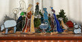 Stain glass nativity scene stained on a table top Stock Photo