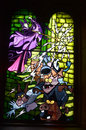 Stain glass window in disney castle colorful of maleficent from sleeping beauty situated the of paris resort picture Stock Image