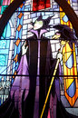 Stain glass window in disney castle colorful of maleficent from sleeping beauty situated the of paris resort picture Stock Photography