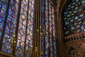 Stain glass window the in st chapelle cathedral paris Stock Photos