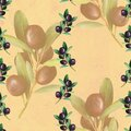 Stained beige pattern, olive illustrations