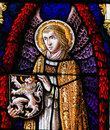 Stained Glass - Angel and the Lion of Flanders Royalty Free Stock Photo