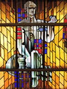 Stained glass in Anyksciai church, Lithuania Royalty Free Stock Photo