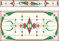 Stained glass in Art Deco style / Abstract floral, Tiffany technique. Vector.