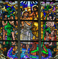 Stained Glass - Baptism of Jesus by Saint John the Baptist