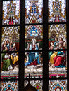 Stained glass in the basilica of saints peter and paul prague Royalty Free Stock Photo