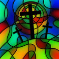 Stained Glass Calvary Royalty Free Stock Photo