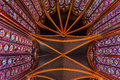 Stained Glass Cathedral Ceiling Sainte Chapelle Paris France Royalty Free Stock Photo