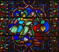 Stained Glass in Notre Dame, Paris of a Medieval Battle