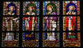 Stained Glass of Catholic Saints in Den Bosch Cathedral Royalty Free Stock Photo