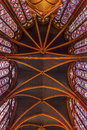 Stained Glass Ceiling Sainte Chapelle Cathedral Paris France Royalty Free Stock Photo