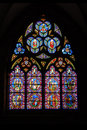 Stained glass of Chartres cathedral in France Stock Photos