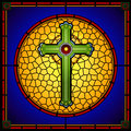 Stained glass christian cross square panel medieval Stock Photos