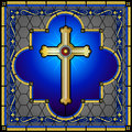 Stained glass christian cross window panel with decorative borders Royalty Free Stock Image