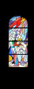Stained glass church window in the parish church of St. James in Medugorje Royalty Free Stock Photo