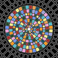 Stained glass circle in with squares and rectangles Stock Photo