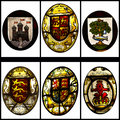 Stained glass coat of arms ancient rendered in isolated on white Royalty Free Stock Photography