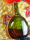 Stained glass composition of wine theme Royalty Free Stock Photo