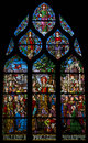 Stained glass depicting st mary magdalene s apostleship to provence shot in church of saint severin paris Stock Photography