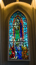 Stained glass detail inside Hallgrimskirkja, Reykjavik cathedral Royalty Free Stock Photo