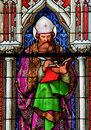 Stained Glass in the Dom of Cologne - Saint Augustine Royalty Free Stock Photo