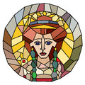 Stained glass empress style artwork isolated on white original interpretation of an antique portrait of theodora from san vitale Stock Images