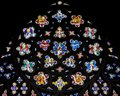 Stained Glass in Exeter Cathedral, West Window Top Circle Close Royalty Free Stock Photo